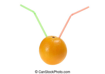 Orange with Drinking Straws on White Background