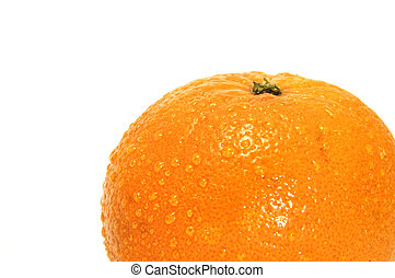 orange with drops on a white background
