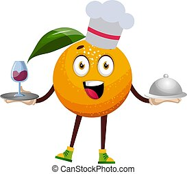 Orange with food, illustration, vector on white background.