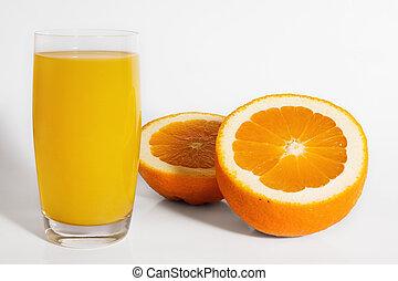 Orange with glass of orange juice isolated