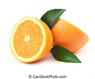 Orange with green leaf - Beautiful juice issolated orange on...