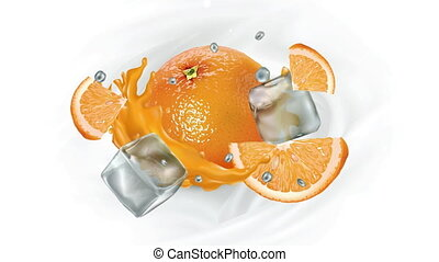 Animation of an orange with juice and ice cubes.