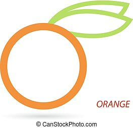 Orange with leaves on a white background.
