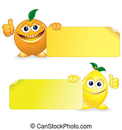 Orange and Lemon. Funny Fruits with Blank Sign. Vector Cartoon Illustration