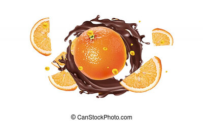 Orange with liquid chocolate on the alpha channel.
