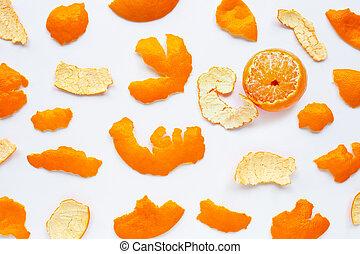 Orange with peel on white background.