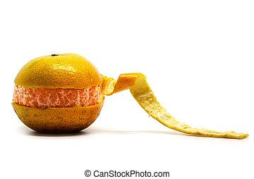 Orange with spiral peel