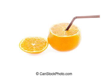 Orange with straw on white background