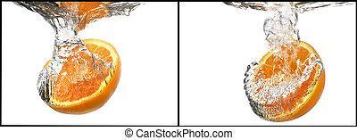 orange with water splash set