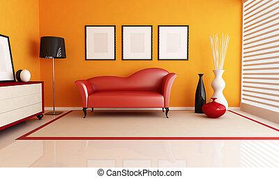 orange, wohnzimmer, rotes