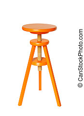 Orange Wood Stool - Vivid orange wood stool isolated on pure...