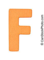 "orange wooden alphabet capital letter ""F"" isolated on white background"