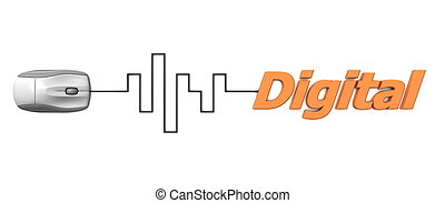 Orange Word Digital with Grey Mouse - Digital Cable