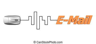 Orange Word E-Mail with Grey Mouse - Digital Cable - grey...
