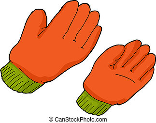 Orange Work Gloves - Pair of orange work gloves over...
