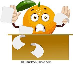 Orange working, illustration, vector on white background.