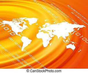Orange World Map - A world map montage over a an orange...