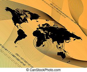 Orange World Montage - A world map montage over an orange...
