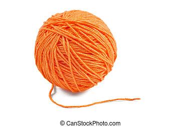 Orange yarn ball - Orange wool yarn ball isolated on white...