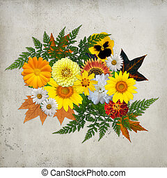 Orange, yellow floral background.