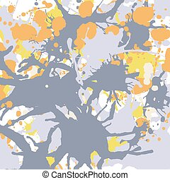 Orange yellow grey ink splashes background square
