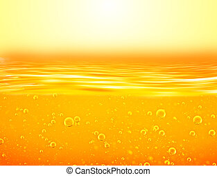 Orange yellow Liquid with oxygen bubbles. Oil. Honey. Beer....