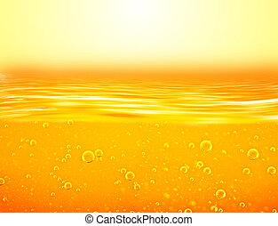 Orange yellow Liquid with oxygen bubbles. Oil. Honey. Beer....