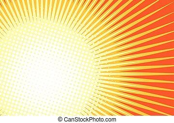 Orange yellow pop art sun background