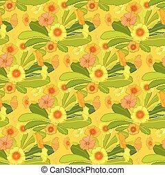 Orange yellow primroses pattern. - Spring summer floral ...