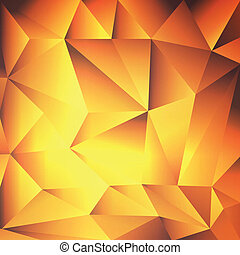 Orange, yellow, red abstract background crystal or gold texture vector template concept for poster