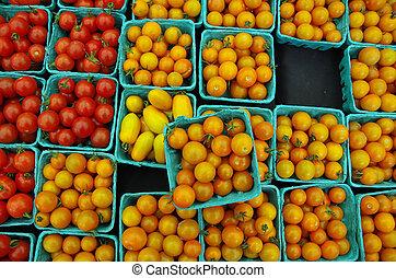 Orange yellow red cherry tomatoes