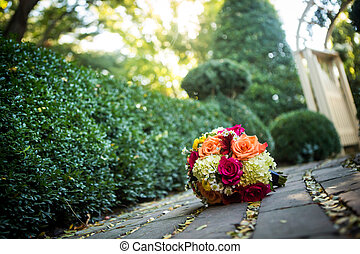 Orange, yellow, white wedding bouquet