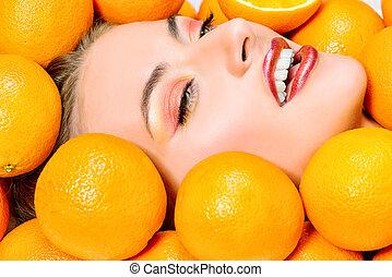 orangen, gesicht