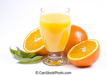 orangen, und, saft