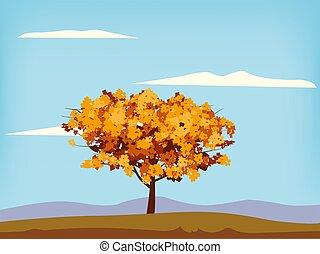 oranger, feuillage, nature, illustration, horizon., lac, automne, paysage, isolé, jaune, vecteur, paysage, parc