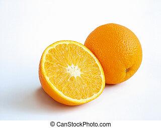 Oranges - A half and a whole orange