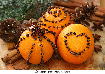 Oranges and cloves close up