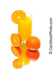 oranges and fresh juice on a white background