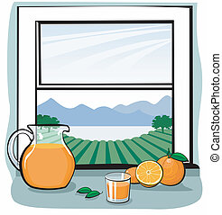 Oranges and juice near window