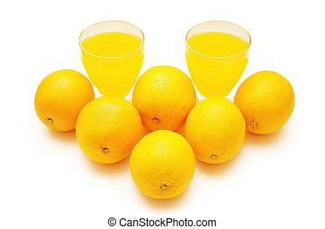 Oranges and orange juice isolated on white