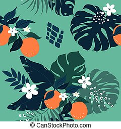 Oranges and palm leaves pattern