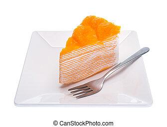 Oranges cake slice, fruit cake on white background.
