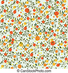 Oranges fruits seamless pattern with flowers