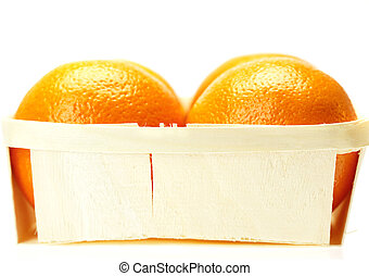 oranges in a box isolated on white