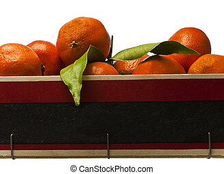 Oranges in a crate with copyspace