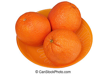 Oranges in a plate