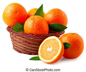Oranges in basket on a white background