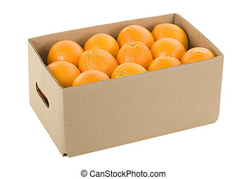 Fresh oranges in box; isolated, clipping path included