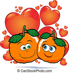 Oranges in love - A funny pair of oranges in love against a...