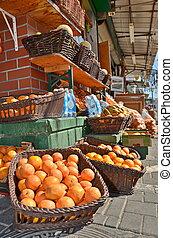 Fresh oranges and fruit in the Jaffa Market in Tel Aviv, Israel